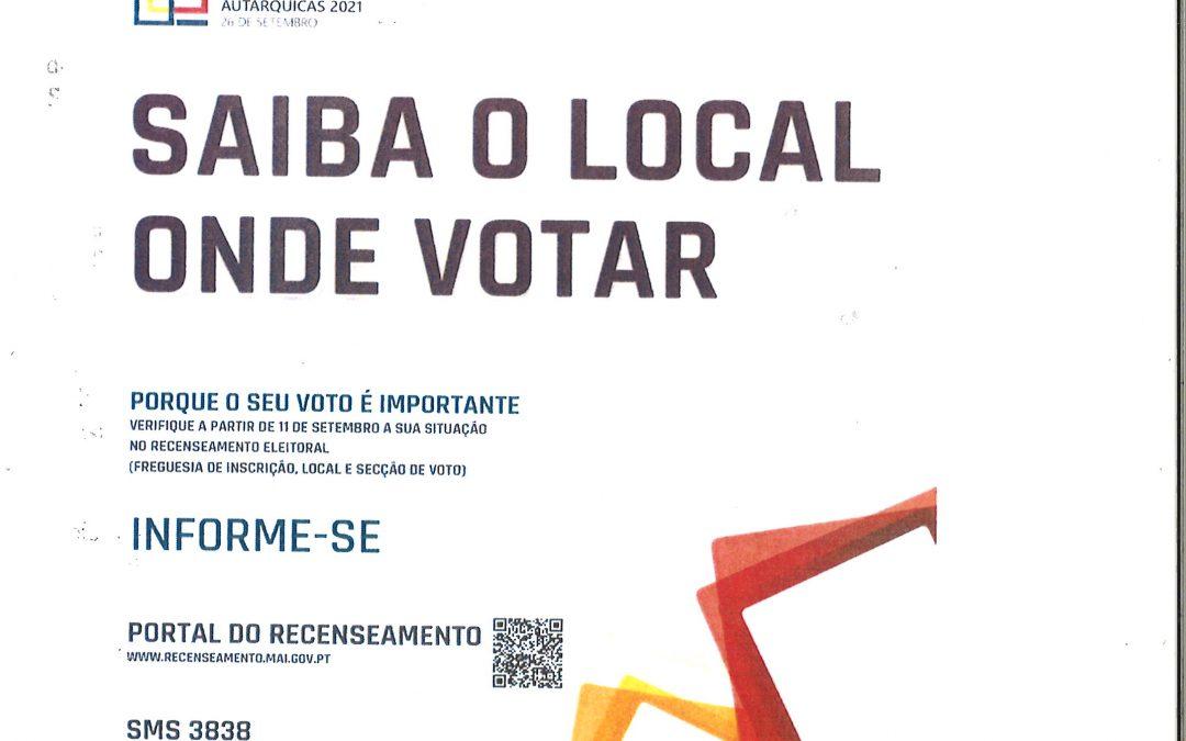 ELEIÇÕES AUTÁRQUICAS 2021 – Saiba o local onde votar